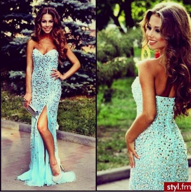 dress blue dress long dress bling