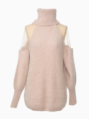 Turtle Neck Angora Pink Sweater With Transparent Shoulder   Choies