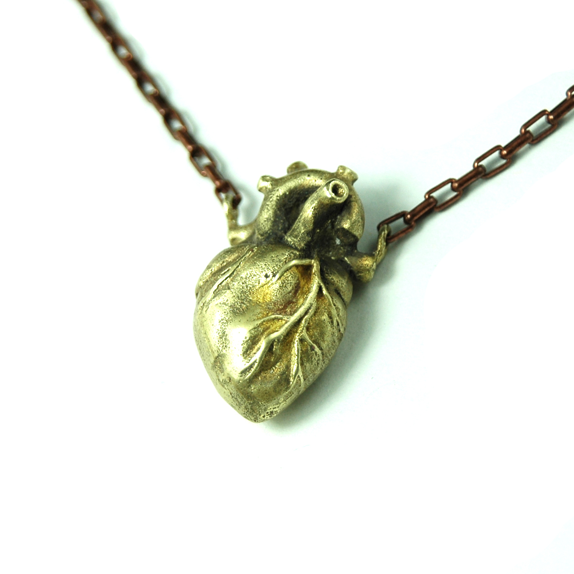 Fine Jewelry Unique 100% Handmade Copper Carving Heart handmade sculpture organ pendant necklace cool Clavicle necklace-inPendants from Jewelry on Aliexpress.com