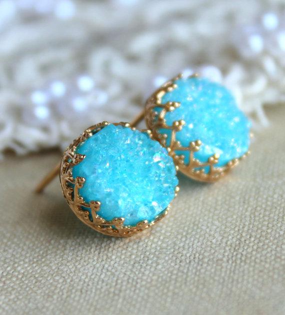 Druzy turquoise earrings Blue Aqua studs earrings Agate by iloniti
