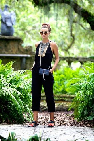 jumpsuit shoes bag jewels sunglasses round sunglasses statement necklace necklace sandals clutch blogger yves saint laurent statement jewelry silver necklace