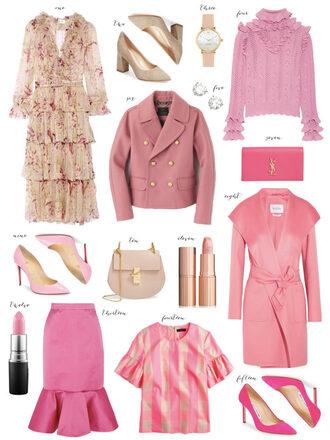 ivory lane blogger dress shoes jewels sweater coat bag make-up skirt blouse pink pink coat pink jacket pink shoes pink skirt all pink everything all pink wishlist ysl bag clutch