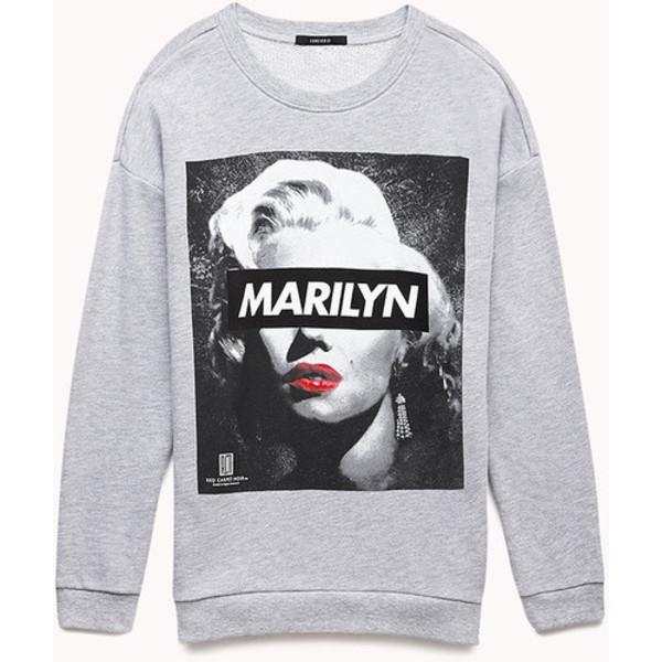 sweater grey black white red lips marilyn monroe
