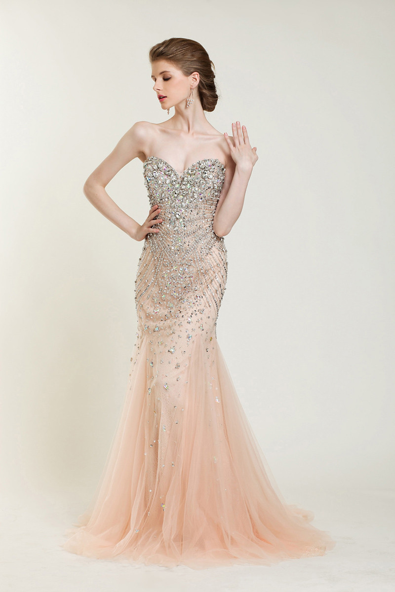 Custom 2014 New Long Luxury Champagne Fully Manual Beaded Side Split Dresses Celebrity Formal Evening Prom Dresses Gowns-in Prom Dresses from Apparel & Accessories on Aliexpress.com
