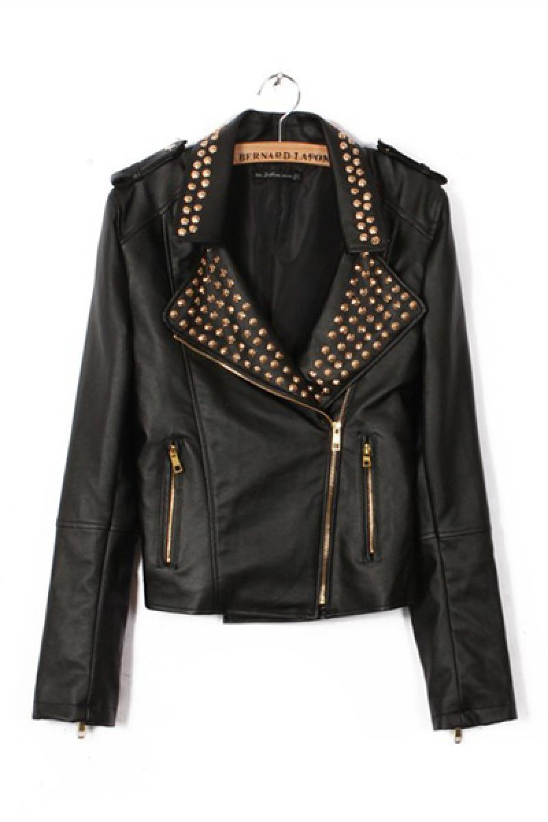 Autumn & Winter New Section Rivets Decorated Collar Long Sleeve Biker Jacket,Cheap in Wendybox.com