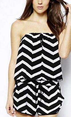 Black & White Strapless Playsuit - Juicy Wardrobe