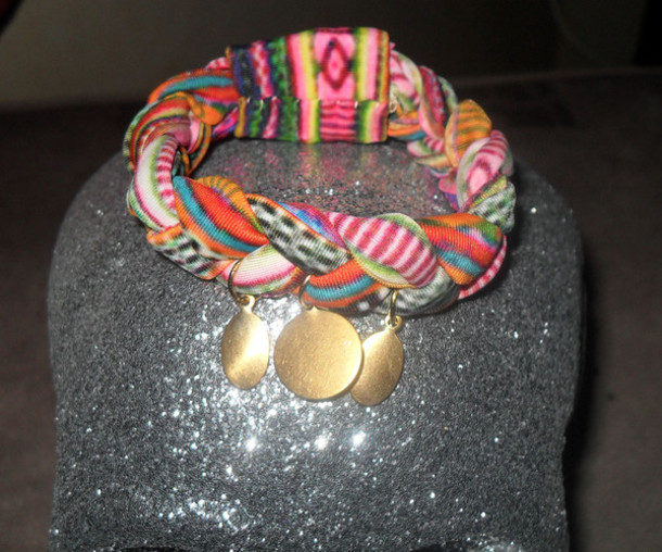 jewels tribal pattern gold coins spandex bracelets jewelry multi braided