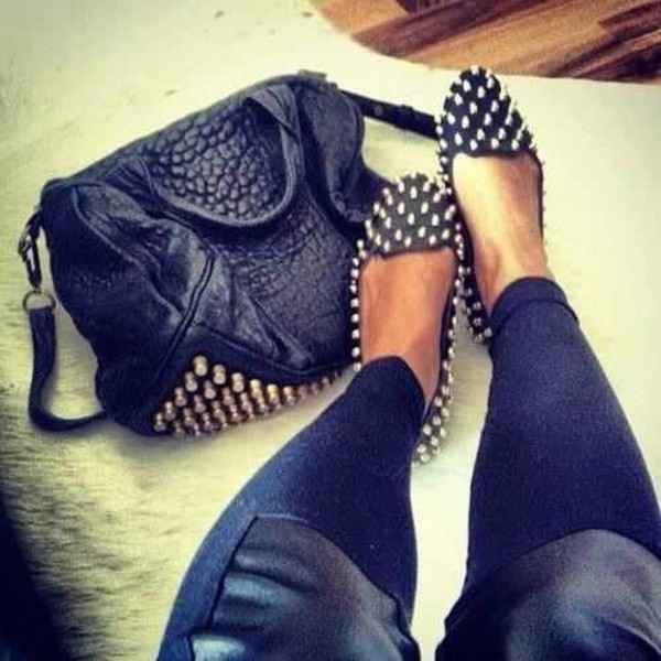 bag black leather spiked leather shorts shoes