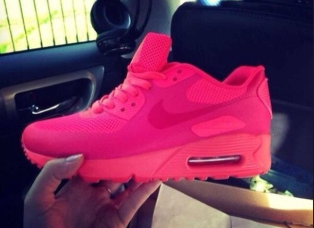 shoes neon pink solid pink air max