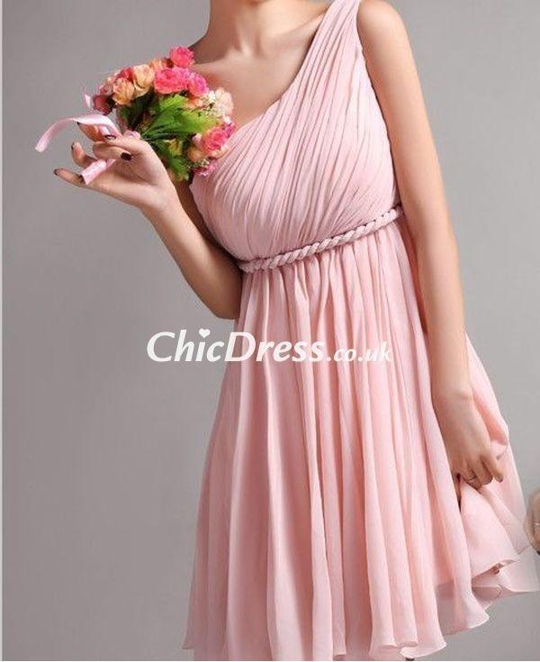 dress bridesmaid one-shoulder dress pink dress short dress