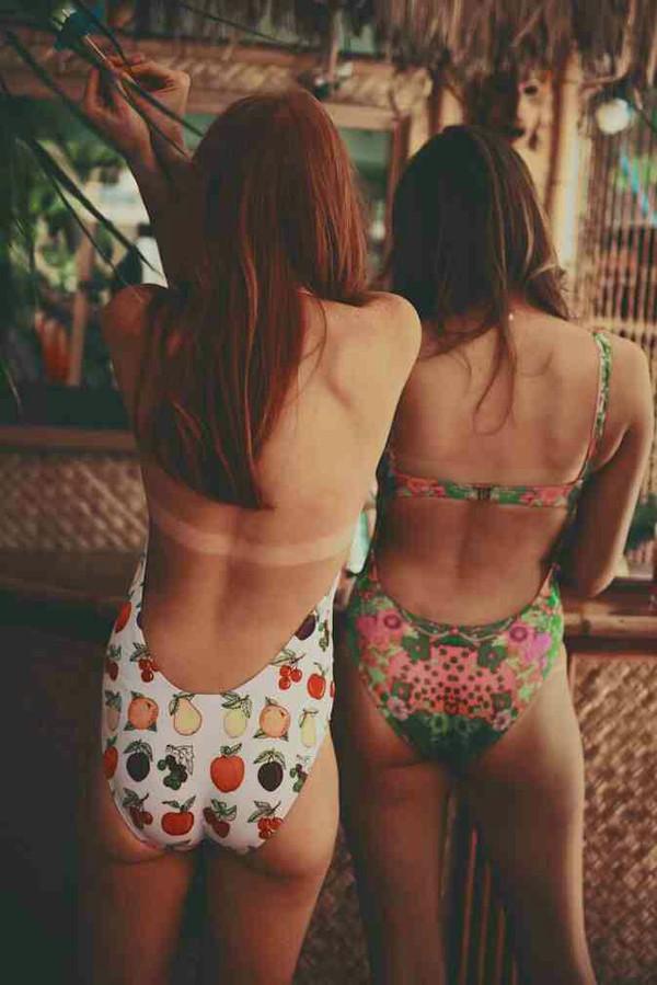 swimwear floral swimwear one piece swimsuit red hair print fruits spring break white flowers