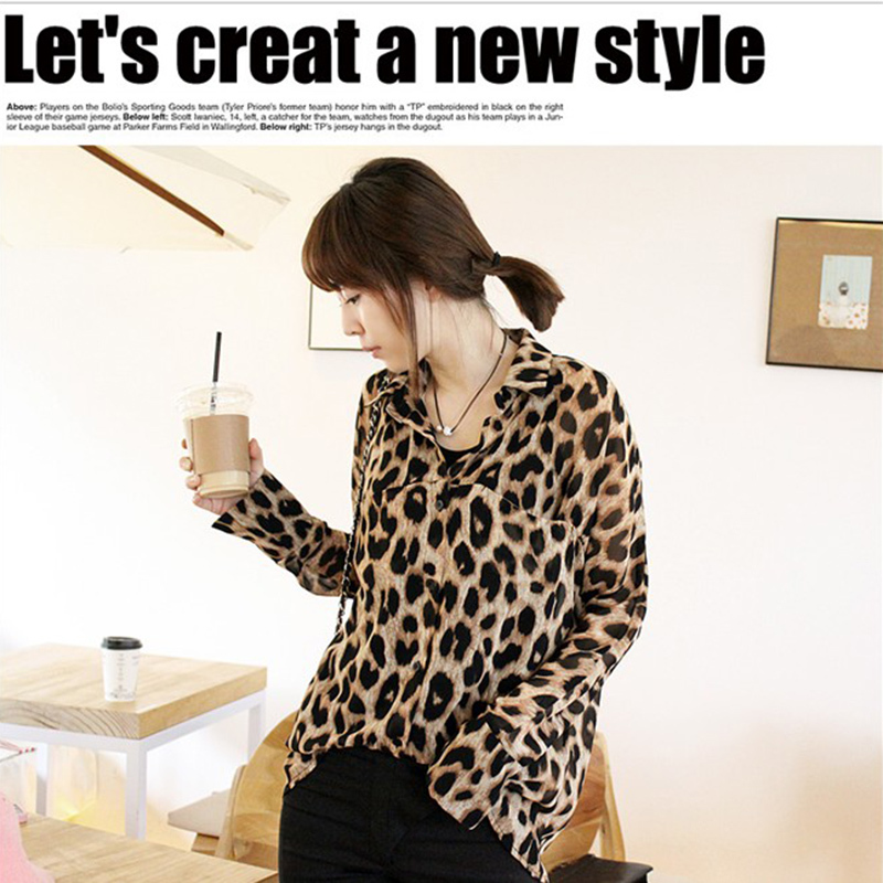 New Women's Lady Chiffon Shirt Leopard Print Tops Long Sleeve Button Down Blouse Brown-in Blouses & Shirts from Apparel & Accessories on Aliexpress.com