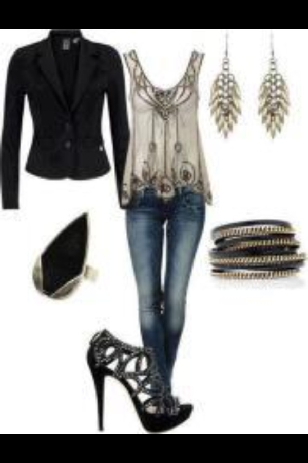blouse clothes shirt coat jacket jewels shoes jeans black and white blouse embellished blouse military style jacket stilettos black high heels black bracelets top tank top beige white blouse new year's eve t-shirt cardigan accessories clubwear
