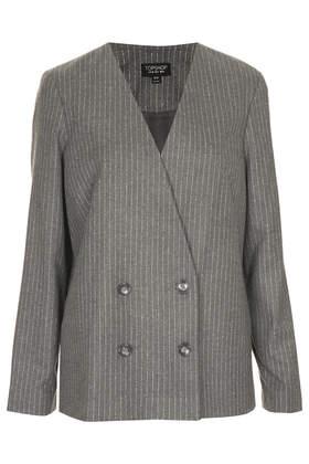 Collarless Pinstripe Jacket - Jackets & Coats  - Clothing  - Topshop