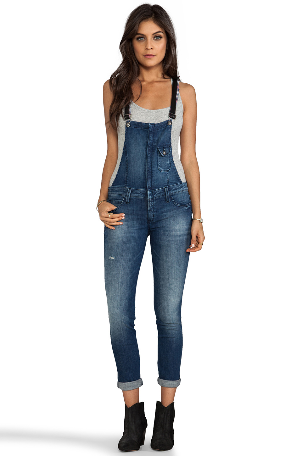 Frankie B. Jeans Hipster Overall with Leather Strap en Japan Blue | REVOLVE
