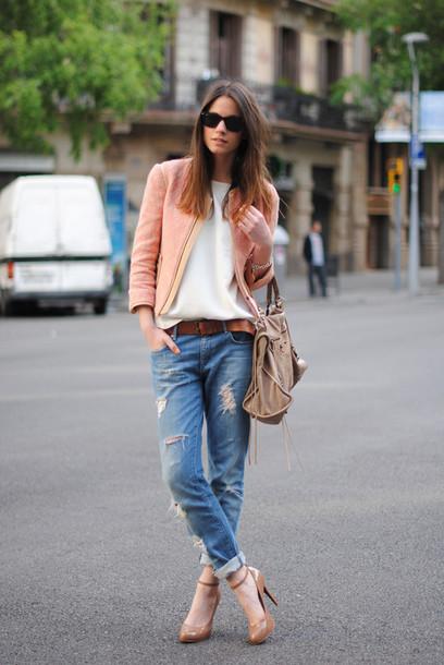 fashion vibe shoes jeans jacket t-shirt belt sunglasses bag