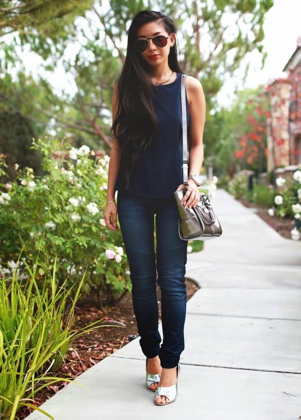 honey and silk t-shirt jeans shoes jewels sunglasses bag