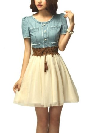 Amazon.com: Sheinside Light Blue Denim Short Sleeve Contrast Net Belt Dress (S, Blue): Clothing