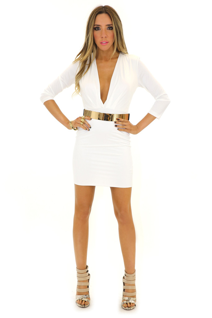 VENETA BODYCON DRESS - White | Haute & Rebellious