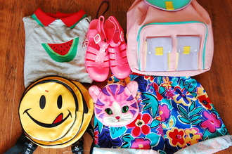 bag rainbow multicolor backpack shirt watermelon print watermelon shirt smiley smiley face backpack jellies pink blue shorts shoes grunge soft grunge 90s style