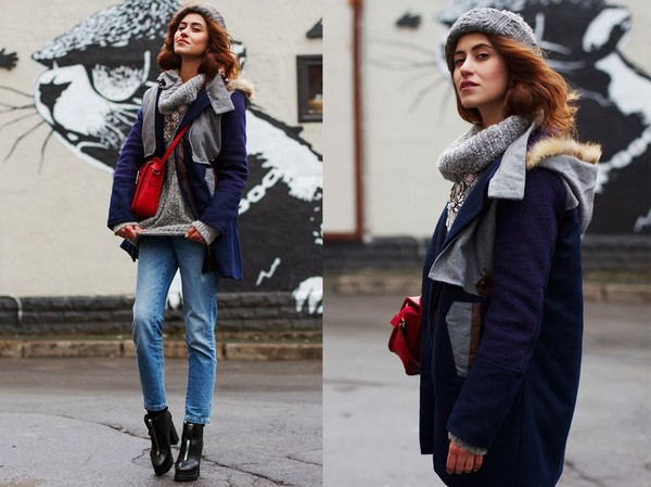tina sizonova coat jeans bag jewels shoes sweater hat