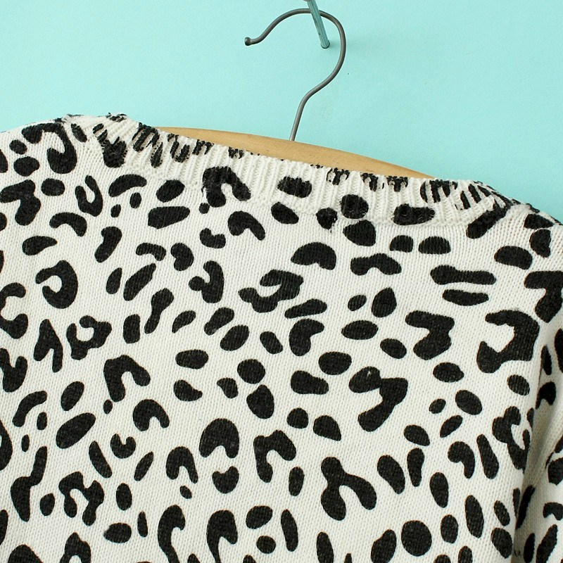 Leopard Long Sleeve Knit Crop Sweater - Sheinside.com