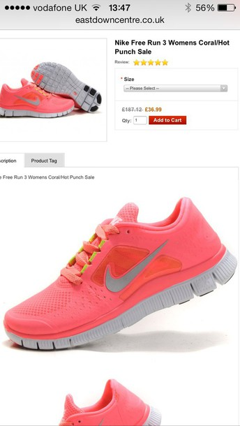 shoes coral nike free run 3