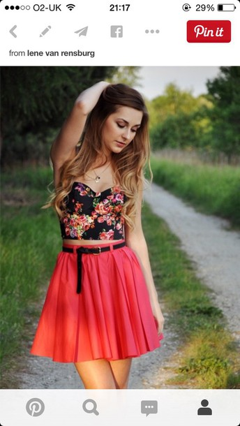 top bralette bralet top black crop top floral flowers crop tops bustier crop top skirt