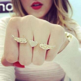 jewels heart wings fingers gold cute girly double ring ring feathers