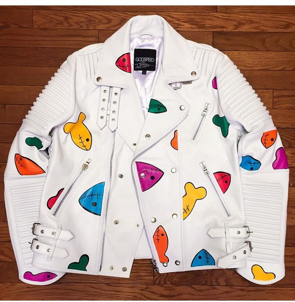 jacket leather jacket white white leather pisces luxe colorful