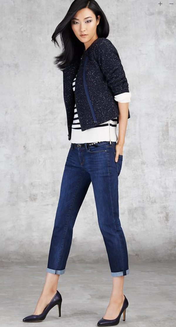 jacket ann taylor lookbook fashion sweater jeans shoes