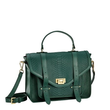 Emerald Hayden Satchel | Embossed Python Leather | GiGi New York