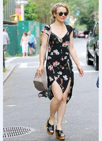 dress rachel mc adams wedges floral dress floral slit dress summer dress summer outfits shoes short hair
