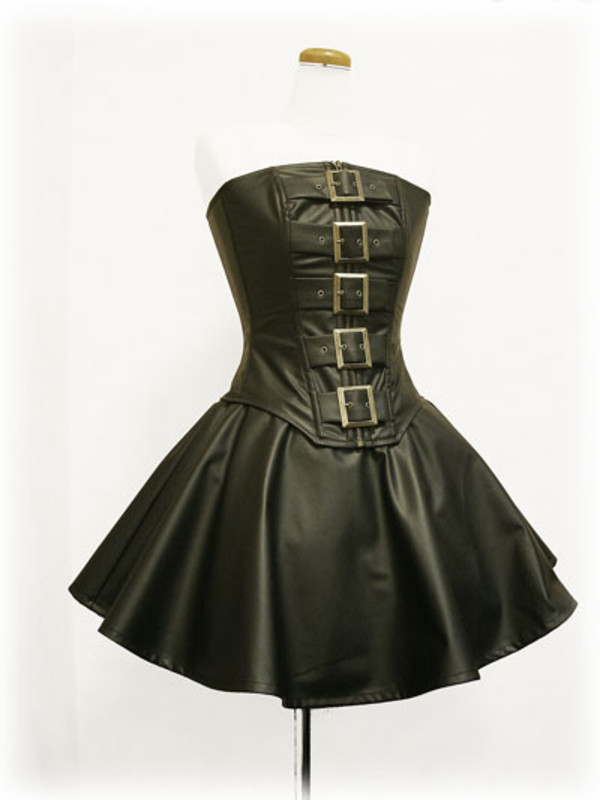 dress steampunk lolita goth leather dress buckles corset dress belt