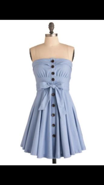 dress light blue dress wherecanigetthis buttons strapless baby blue blue dress