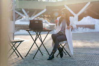 the mysterious girl blogger coat pants sweater shoes bag sunglasses