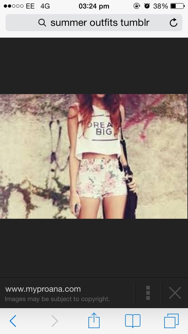 t-shirt crop tops dream big summer crush summer shorts