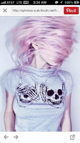 shirt grey shirt skull hear no evil see no evil punk top skull t-shirt soft grunge bones funny t-shirt