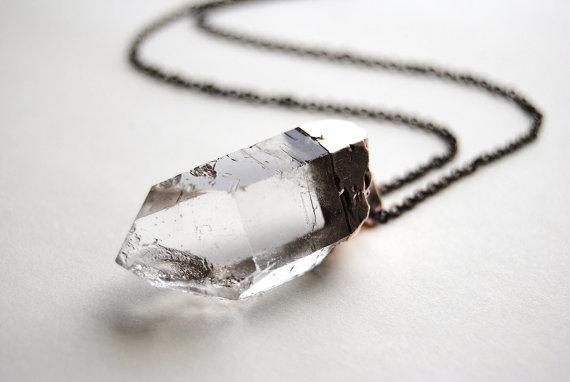 Quartz Crystal Necklace  LARGE  Handmade Jewelry  by SPARKLEFARM