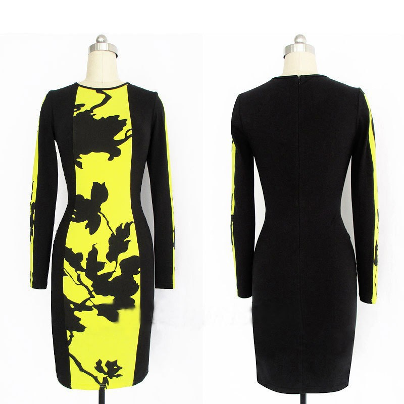 2013 Autumn Womens Celeb O Neck Long Sleeve Contrast Floral Print Color Block Stretch Bodycon Dress #R0019-in Dresses from Apparel & Accessories on Aliexpress.com