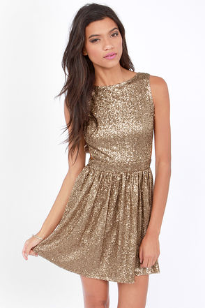 Cute Bronze Dress - Sequin Dress - Backless Dress - Skater Dress - $160.00