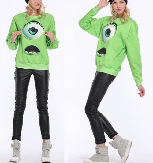 Autumn New Hot Top Designer Fashion Women Hot Sale Casual Green Monsters University Print Loose Sweatshirt-in Hoodies & Sweatshirts from Apparel & Accessories on Aliexpress.com