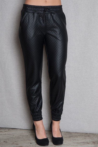 pants leather joggers miami fashion