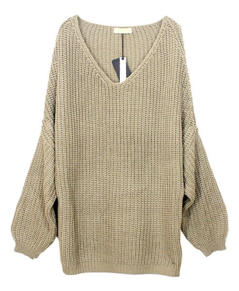 Gray Sweater - Gray V-Neck Batwing Knit Sweater   UsTrendy