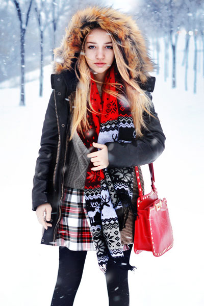 Houndstooth Cocoon Parka With Oversized Fur Trim Hood | Choies