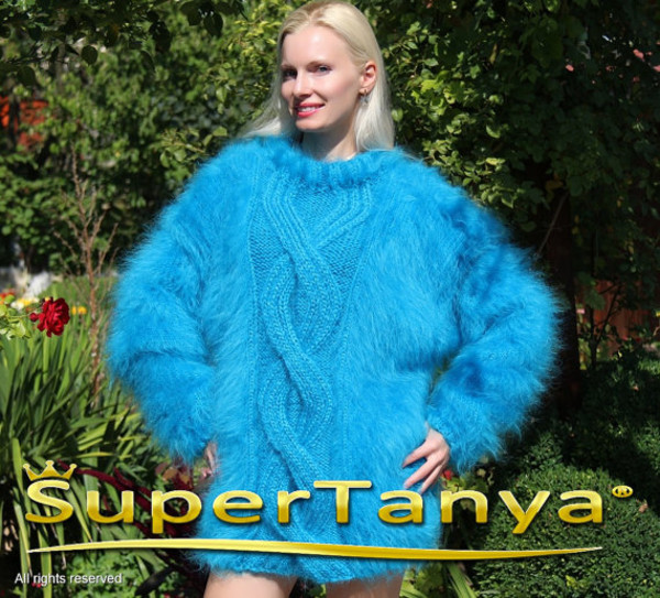 sweater hand knit made mohair supertanya soft fluffy fluffy angora wool alpaca cashmere