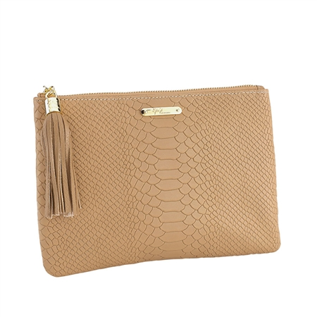 Sand All in One Bag   Embossed Python Leather   GiGi New York