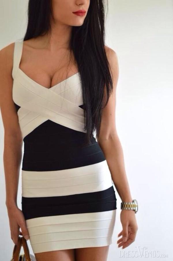 dress black white dress stripes