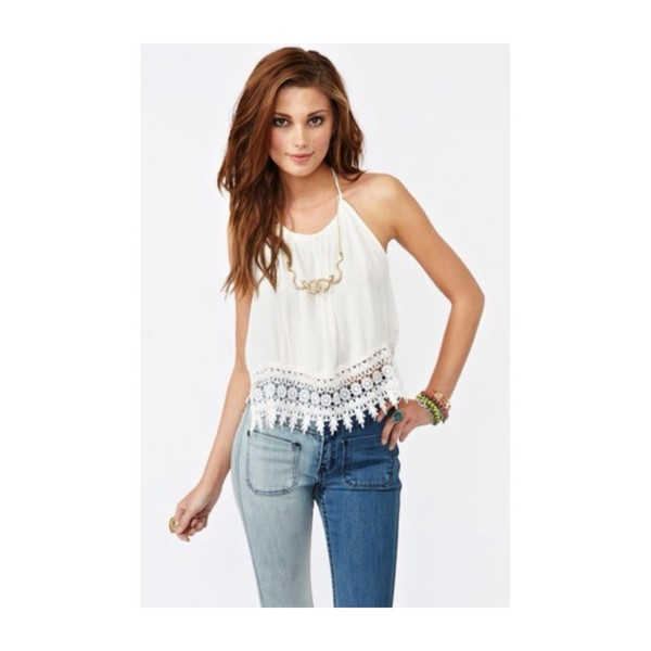 shirt halter top lace lace trim top white white top crop tops lace crop top white halter top white lace top white crop tops halter neck backless backless top jeans