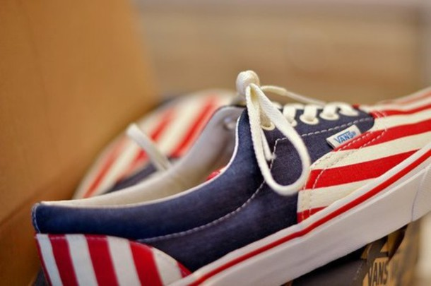 vans american flag shoes red blue